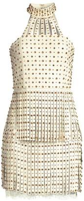 Alice + Olivia Maddie Studded Leather Fringe Mini Dress