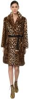 Marc Jacobs Leo Printed Faux Fur Coat W/ Belt