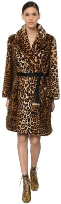 Marc Jacobs Leo Printed Faux Fur Coat W/ Belt