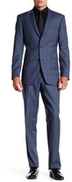 Ike Behar Blue Plaid Two Button Notch Lapel Wool Suit