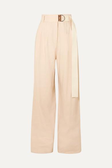 Tibi Bianca Belted Linen-blend Wide-leg Pants - Beige