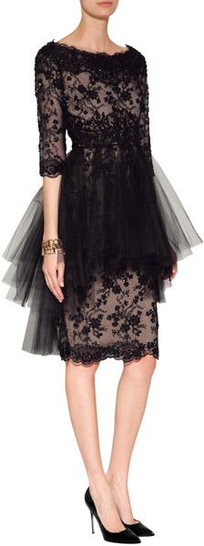 Marchesa Crystal Embroidered Silk Lace Dress in Black