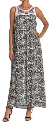 Patterned Back Cutout Maxi Dress