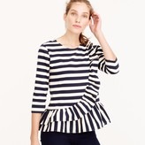 J.Crew Asymmetrical striped ruffle top