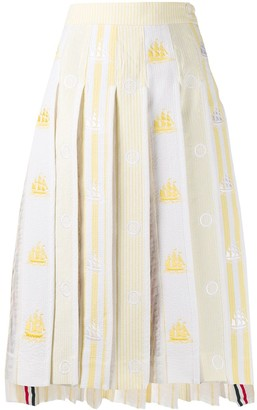 Thom Browne Striped Pleated Skirt