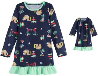 Girls 4-16 Jammies For Your Families Flip Flop Holiday Family Long-Sleeve Knit Dorm Gown