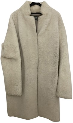 Meteo Ecru Shearling Coat for Women
