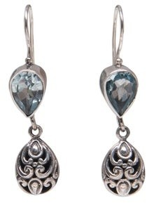 Novica Handmade Sterling Silver Lotus Bud Blue Topaz Earrings
