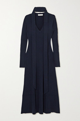 Chloé Tie-neck Ribbed Wool And Silk-blend Midi Dress - Navy