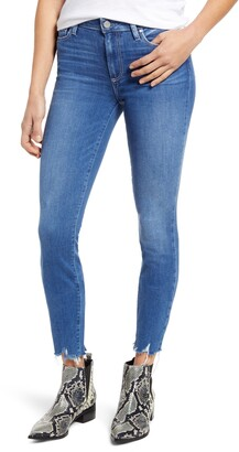 Paige Hoxton High Waist Distressed Hem Ankle Skinny Jeans