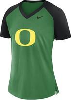 Nike Women's Apple Green Oregon Ducks Fan Raglan V-Neck T-Shirt