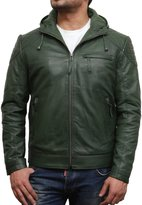 Brandslock Mens Hooded Real Sheepskin Leather Bomber Jacket Casual Fitted