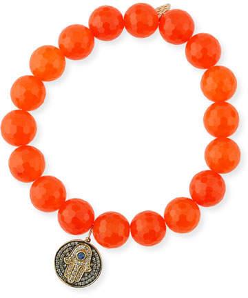 Sydney Evan 10mm Orange Agate Beaded Bracelet with Diamond & Sapphire Hamsa Charm