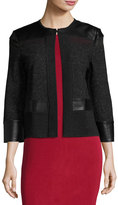 Ming Wang Tweed Jacket with Faux-Leather Trim, Black