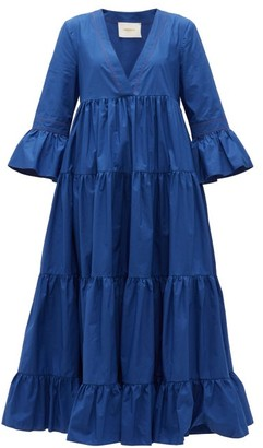 La DoubleJ Jennifer Jane Tiered Cotton-poplin Dress - Blue