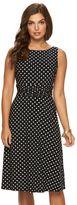 Chaps Women's Polka-Dot Ruched Dress