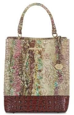 Brahmin Amethyst Norwell Amelia Snake-Embossed Leather Top Handle Bag