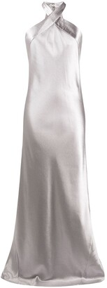 Galvan Eve metallic satin dress
