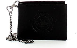 Aeronautica Militare Black Leather Men's Biker Wallet w/Chain