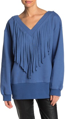 Tov V-Neck Fringe Sweater