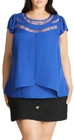 City Chic Cap Sleeve Illusion Top