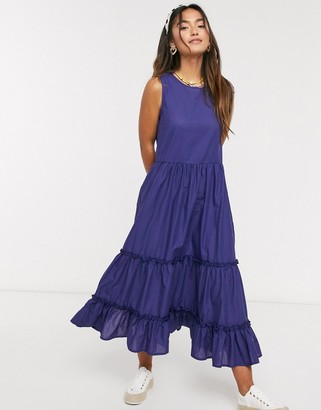 Qed London tiered midi dress in navy