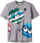 Fendi Short Sleeve Logo Fur Monster Graphic T-Shirt Boy's T Shirt