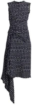 Oscar de la Renta Sleeveless Asymmetric Knit Dress