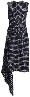 Oscar de la Renta Sleeveless Asymmetric Knit Dress