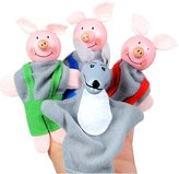 HaiHui Finger Puppet Set, 4Pcs Little Pigs Wolf Plush Toy Doll Role Prented