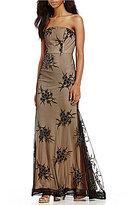 B. Darlin Applique Mesh Trumpet Dress