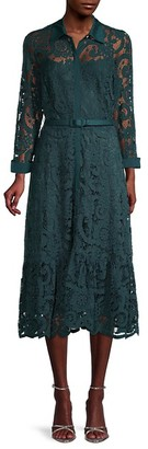 Nanette Lepore Belted Lace Midi Dress
