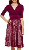 Sangria Ombre Signature by 3/4-Sleece Ruched-Waist Dress - Petite