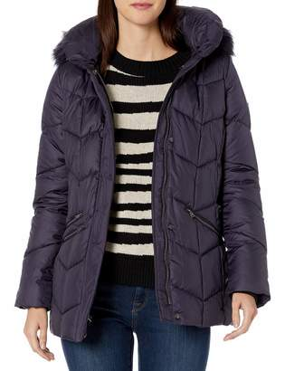 Larry Levine Women's Chevron Quilted Puffer W/Pillow Collar & Detachable Faux-Fur Trimmed Hood