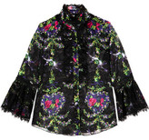 Anna Sui Ruffle-Trimmed Printed Chiffon Blouse