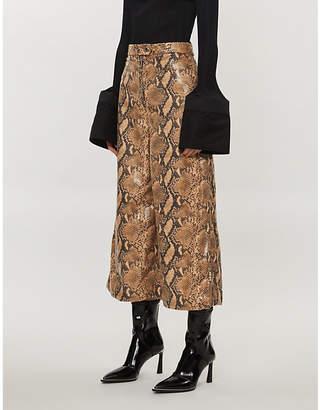 Ellery Wide-leg high-rise faux-snakeskin trousers