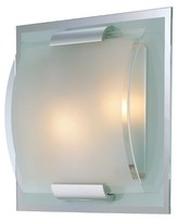 Lite Source Delano 2 Light Mirror and Frosted Wall Light - Silver