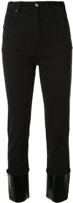 No.21 Faux-Leather Turn Up Hems Jeans