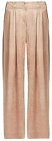 Raquel Allegra Silk-jacquard wide-leg trousers