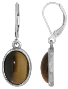 2028 Silver-Tone Semi Precious Tiger Eye Oval Drop Earrings