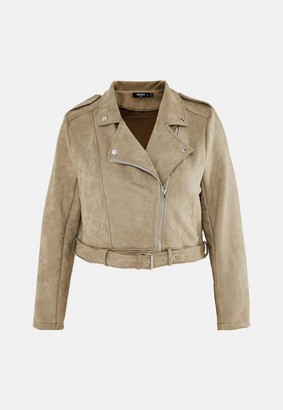 Missguided Plus Size Olive Faux Suede Bonded Biker Jacket