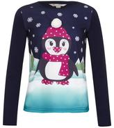 Yumi Girl Embellished Penguin Christmas Top Navy