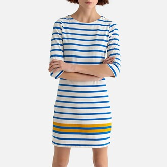 La Redoute Collections Cotton Striped Round Neck Long-Sleeved Shift Dress