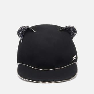 Karl Lagerfeld Paris Women's Choupette Ears Zip Cap - Black - S