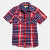 Triple Five Soul Big Boys' Short Sleeve Button-Down Plaid Shirt