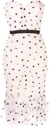 Marchesa Notte Polka Dot Print Tulle Dress
