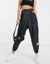 Nike Woven Swoosh Black Cargo Pants With Belt