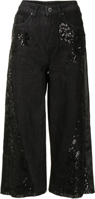 Antonio Marras Floral Sequin Cropped Jeans