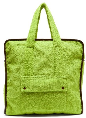 Gabriel For Sach - Towel Leather-trimmed Cotton-terry Tote Bag - Green