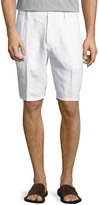 Neiman Marcus Solid Linen Shorts, White